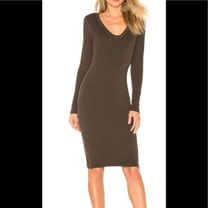 James Perse long sleeve body con dress olive